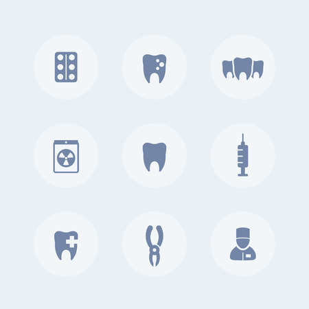 toothcare: Teeth, dental clinic, tooth cavity, stomatology, toothcare isolated icons set, vector illustration