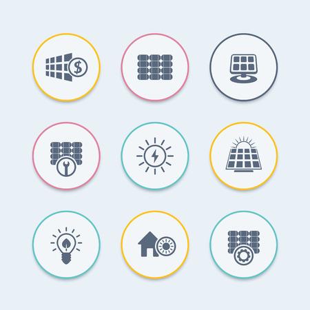 energetics: Solar energy icons, panels, alternative energetics, solar panels maintenance, round icons, vector illustration