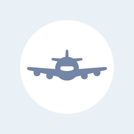 air liner: Airplane, aircraft, plane, aviation, air transport isolated icon, vector illustration