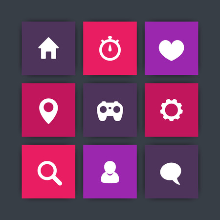 favourite: Basic web square icons, settings, login, home, search, favourite, chat icon, vector illustration Illustration