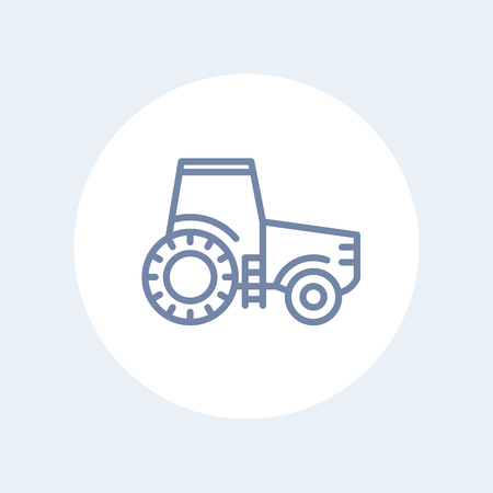 agrimotor: Tractor line icon, agrimotor, agricultural machinery isolated icon, vector illustration