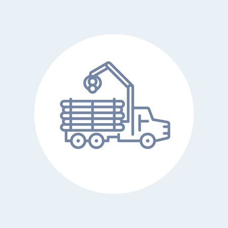 logging: Forwarder line icon, forestry vehicle, logger, logging truck isolated icon, vector illustration Illustration