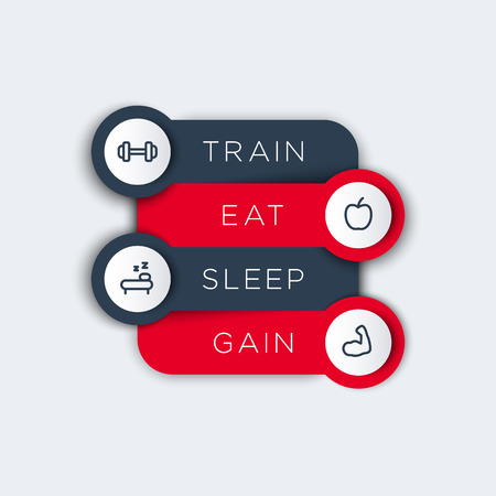 step fitness: Train, eat, sleep, step labels with fitness line icons, fitness training principles concept, vector illustration