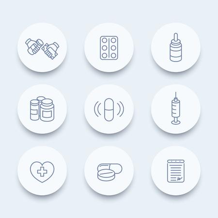 pharmaceuticals: medicine, drugs, pills, pharmaceutics line icons, supplements, pharmaceuticals, medication icons, vector illustration