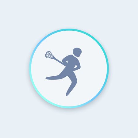 Lacrosse player icon, lacrosse sign, round icon, lacrosse pictogram, vector illustration