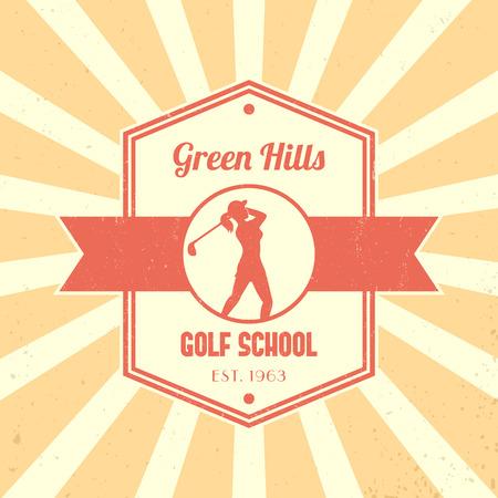 golfer swinging: Golf school vintage logo, badge, golf school tetragonal emblem, with girl golfer, female golf player swinging golf club, vector