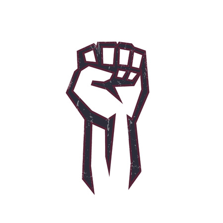 protest: fist held high in protest, fist logo element, protest sign with fist on white, vector illustration