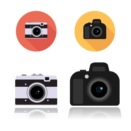 compact camera: DSLR camera icon and Retro compact camera icon, round flat icons on white, vector illustration