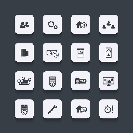costs: 16 finance, costs, tax icons, rounded square set, vector illustration Illustration