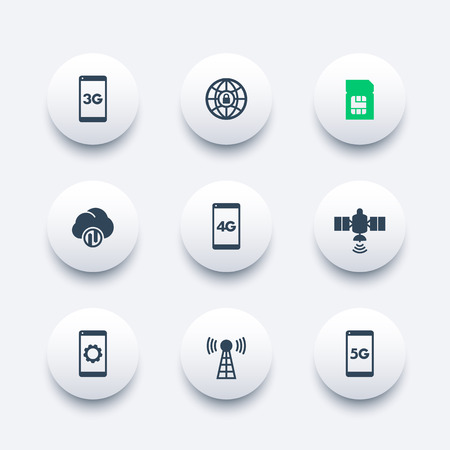 4g: wireless technology modern round icons, 4g network pictogram, mobile communication, connection signs, 4g, 5g mobile internet icon,