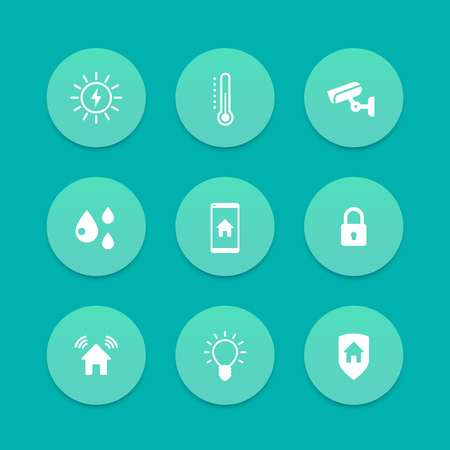 signalling: Smart house icons, cctv, security, signalling, light, temperature control icons, aquamarine set, vector illustration