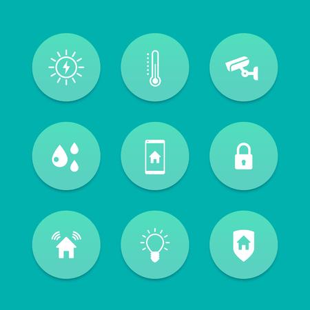 cctv security: Smart house icons, cctv, security, signalling, light, temperature control icons, aquamarine set, vector illustration