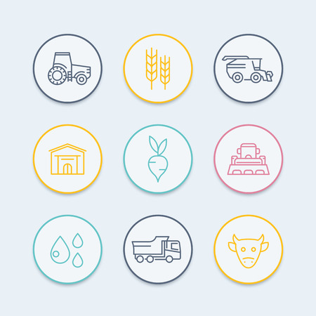 agriculture machinery: Agriculture, farming line icons, tractor, harvest, cattle, agricultural machinery, agribusiness round color icons, vector illustration