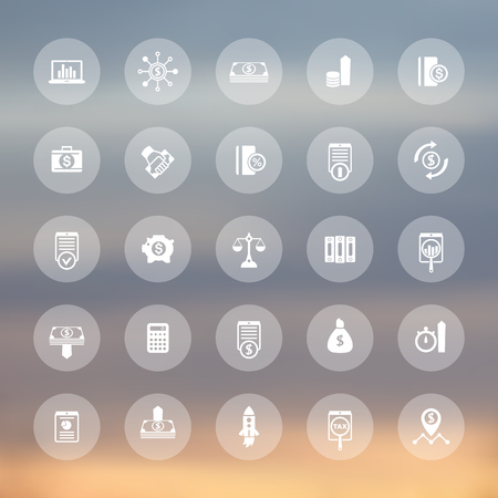 cost estimate: 25 finance, investing icons, venture capital, shares, stocks, investor, funds, investment, income transparent icons set, vector illustration
