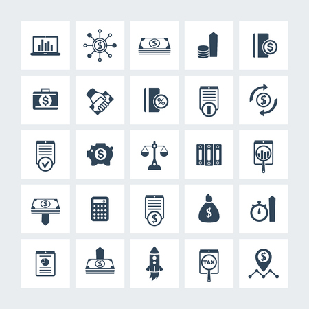 estimate: 25 finance, investing icons, venture capital, investment, shares, stocks, investor, funds, money, income icons on squares, vector illustration
