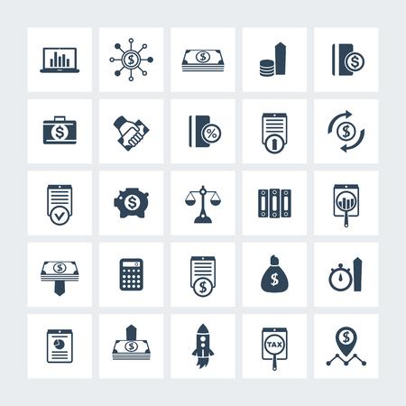 25 Finanzen, investieren Ikonen, Risikokapital, Investitionen, Aktien, Aktien, Anleger, Fonds, Geld, Einkommen Symbole auf Quadrate, Vektor-Illustration Vektorgrafik