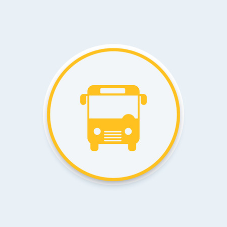yellow schoolbus: Bus icon, public transport, bus vector, marker for map, public transportation, transit round icon, bus pictogram, vector illustration Illustration