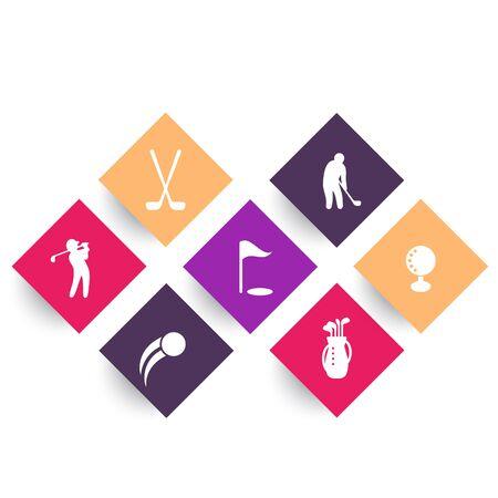 golf bag: Golf rhombic icons on white, golf clubs, golf player, golfer, golf bag, vector illustration