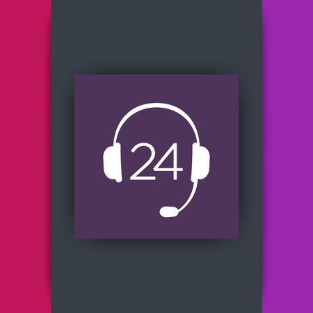 helpline: headphone, 24 support service, headset icon, technical support, contact us, helpline, square icon, vector illustration Illustration