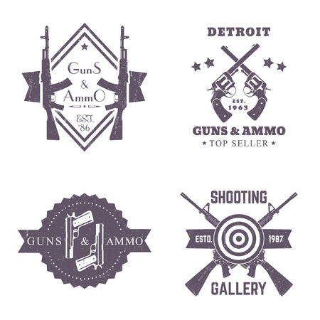 guns and ammo, vintage logos set, badges with automatic rifles, crossed revolvers, two pistols, shooting gallery logo, sign with assault rifles on white