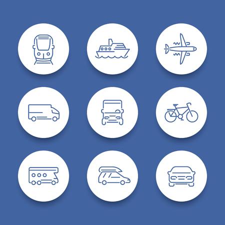 minivan: Transport line icons, car, van, minivan, bus, train, airplane, ship round icons, vector illustration