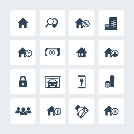 occupant: Real estate icons on squares, house sale, search, apartments, homes for rent, real estate pictograms, vector illustration