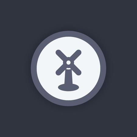 energetics: wind turbine icon, wind energetics pictogram, wind turbine farm sign, wind park, alternative energy, wind power, windfarm round flat