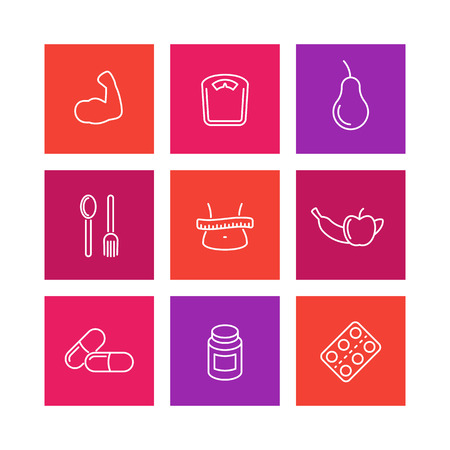 fat loss: Diet icons, sport nutrition, fat loss, healthy food icons on white, vector illustration