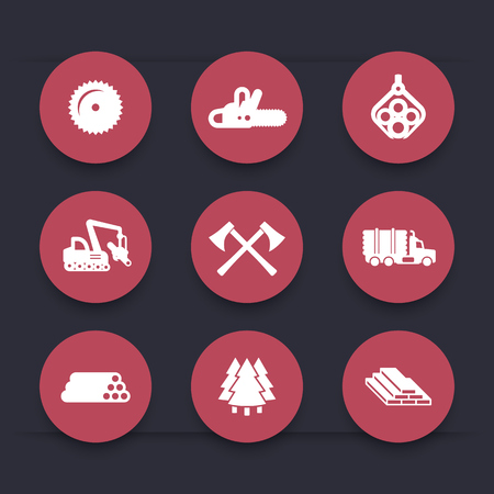 logging: Logging, forestry equipment icons, sawmill, logging truck, tree harvester, timber, wood, lumber, round icons set, vector illustration Illustration