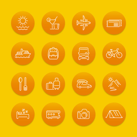 recreation: Travel, tourism line icons, recreation, trip, tour, journey pictograms, round icons, vector illustration