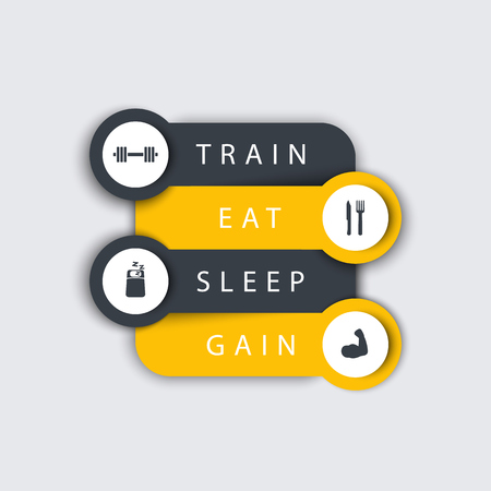 principles: Train, Eat, Sleep, step labels with fitness icons in yellow and dark grey, fitness training principles concept, vector illustration