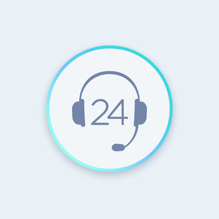 helpline: headphone icon, call technical support, contact us, helpline, 24 support service round stylish icon, vector illustration