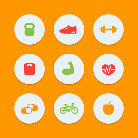 circular muscle: Fitness icons, simple fitness pictograms, round color icons, vector illustration Illustration