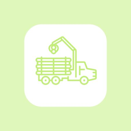 logging: Forwarder line icon, lorry,  logging truck, forestry vehicle, logger, truck with timber icon on white, vector illustration