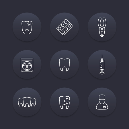 toothcare: Tooth, dental care line icons, dental pliers, toothcare, stomatology, tooth pictogram, dark round icons set, vector illustration Illustration
