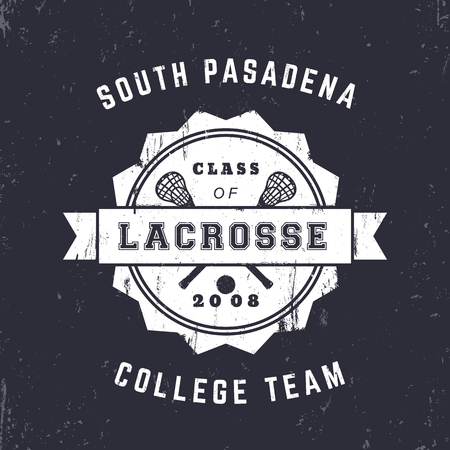 Lacrosse Team vintage badge, emblem, lacrosse t-shirt design, print, vector illustration