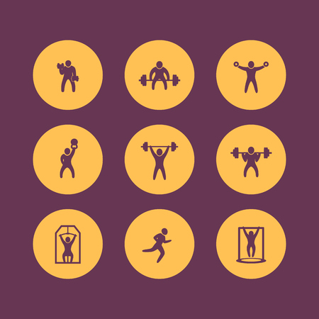 squat: Gym, fitness exercises round icons, gym training icon, fitness exercises pictograms, vector illustration Illustration