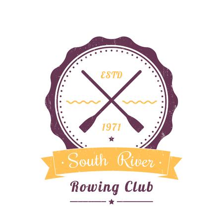 Rowing Club logo vintage, insigne, aviron signe club sur blanc, illustration vectorielle Logo