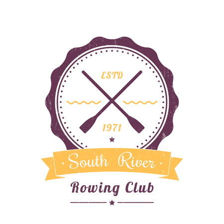 Rowing club vintage logo, badge, rowing club sign on white, vector illustration