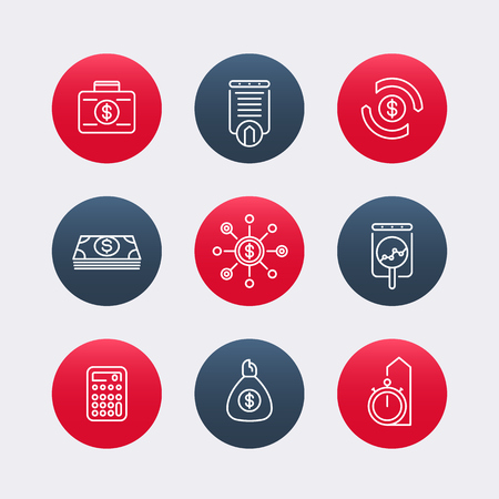 futures: finance, investments line icons, finance pictograms, round icons, vector illustration Illustration