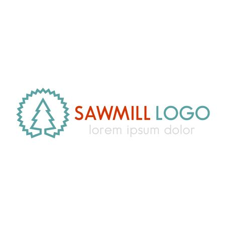 steel mill: Sawmill logo line design template, sawmill sign, vector illustration Illustration