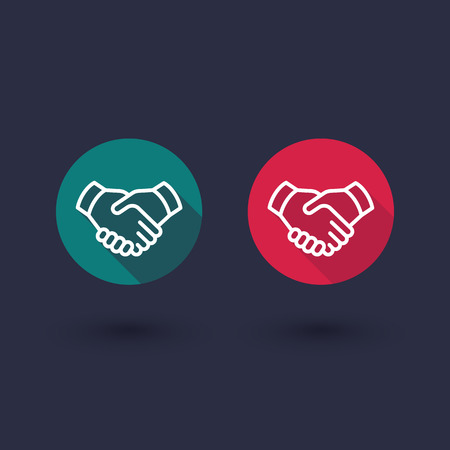 handgrip: handshake line icon, cooperation, partnership, deal round flat icons, vector illustration