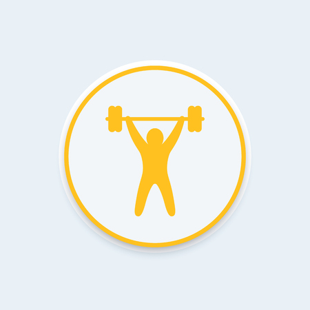 strength training: strength training round icon, workout icon, gym sign, fitness logo element, training pictogram, vector illustration
