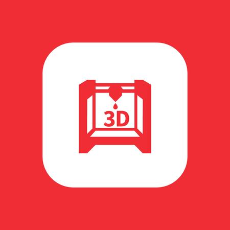 additive manufacturing: 3d printer icon, additive manufacturing, 3d printing pictogram, rounded square icon, vector illustration