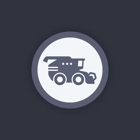 harvester: Harvester icon, harvester machine symbol, grain harvester combine, vector illustration