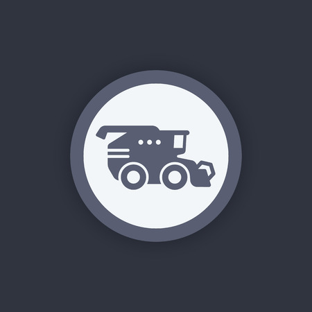 Harvester icon, harvester machine symbol, grain harvester combine, vector illustration
