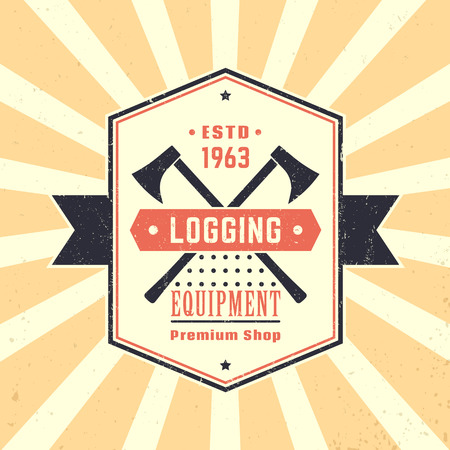 logging: Logging equipment, lumber shop vintage logo, emblem, logging equipment sign with lumberjacks axes, vector illustration