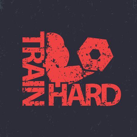 하드 티셔츠 디자인, 그런 지 기호, 체육관 t- 셔츠 인쇄, 팔 뚝, 아령와 강한 팔 벡터 일러스트 레이 션 훈련 일러스트