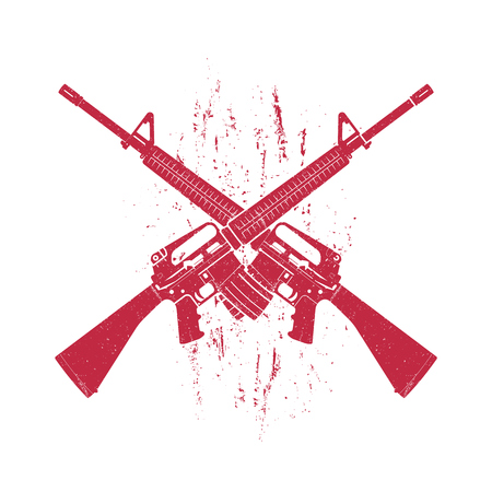 assault: crossed assault rifles, two 5.56 mm automatic guns, red on white, vector illustration Illustration