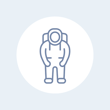 spaceflight: Astronaut line icon, astronaut pictogram, isolated icon, vector illustration